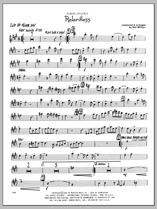 Bob Mintzer Relentless - 2nd Bb Tenor Saxophone sheet music preview music notes and score for Jazz Ensemble including 2 page(s)