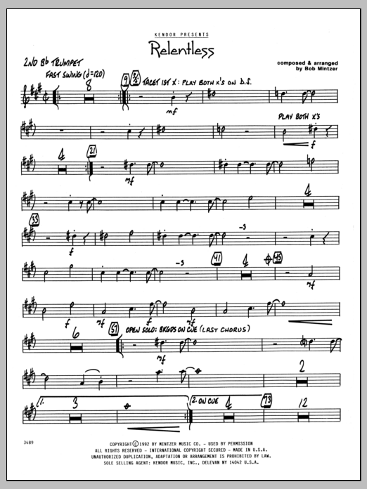 Bob Mintzer Relentless - 2nd Bb Trumpet sheet music preview music notes and score for Jazz Ensemble including 2 page(s)