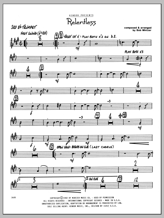 Bob Mintzer Relentless - 3rd Bb Trumpet sheet music preview music notes and score for Jazz Ensemble including 2 page(s)