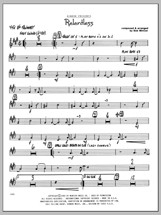 Bob Mintzer Relentless - 4th Bb Trumpet sheet music preview music notes and score for Jazz Ensemble including 2 page(s)