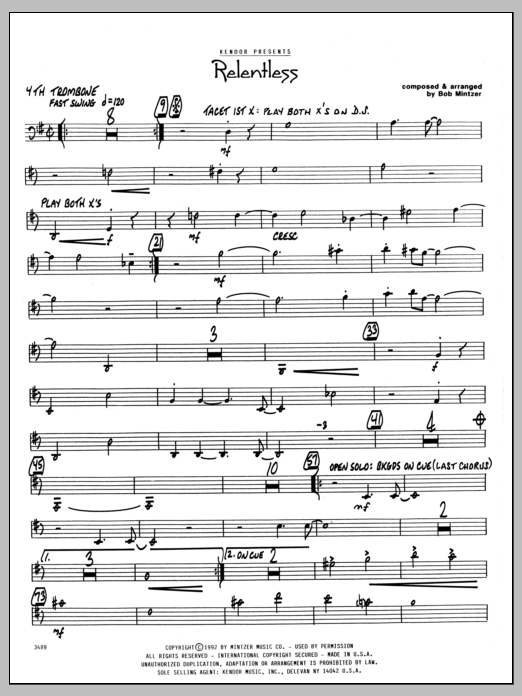 Bob Mintzer Relentless - 4th Trombone sheet music preview music notes and score for Jazz Ensemble including 2 page(s)