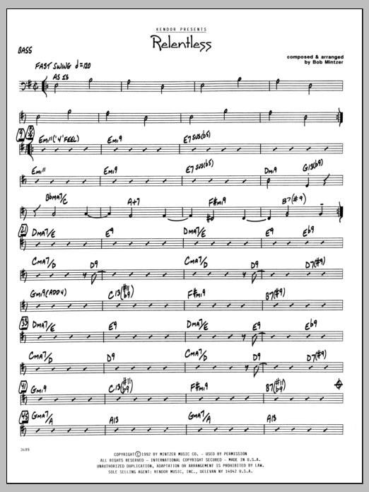 Bob Mintzer Relentless - Bass sheet music preview music notes and score for Jazz Ensemble including 3 page(s)