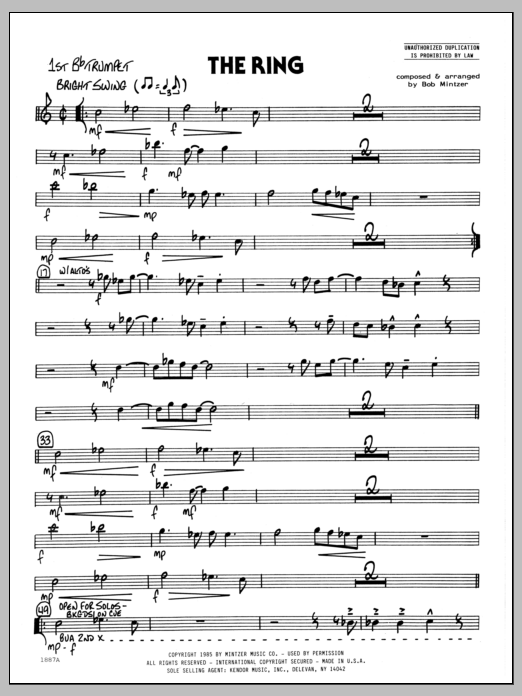 Bob Mintzer The Ring - 1st Bb Trumpet sheet music preview music notes and score for Jazz Ensemble including 2 page(s)