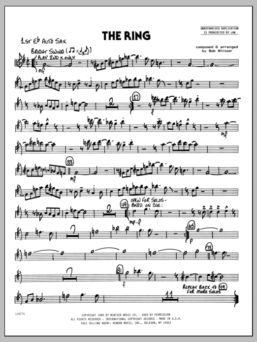 Bob Mintzer The Ring - 1st Eb Alto Saxophone sheet music preview music notes and score for Jazz Ensemble including 2 page(s)