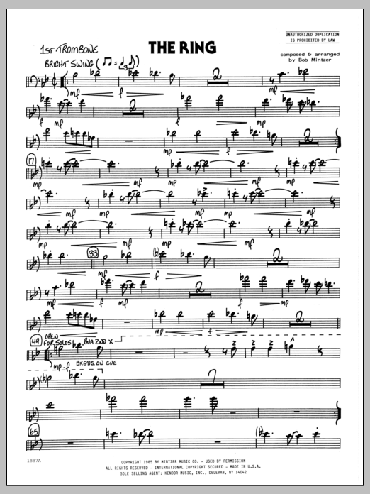 Bob Mintzer The Ring - 1st Trombone sheet music preview music notes and score for Jazz Ensemble including 2 page(s)