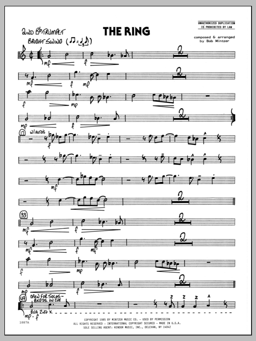 Bob Mintzer The Ring - 2nd Bb Trumpet sheet music preview music notes and score for Jazz Ensemble including 2 page(s)