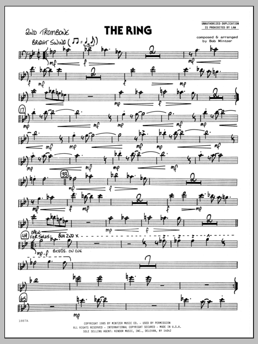 Bob Mintzer The Ring - 2nd Trombone sheet music preview music notes and score for Jazz Ensemble including 2 page(s)