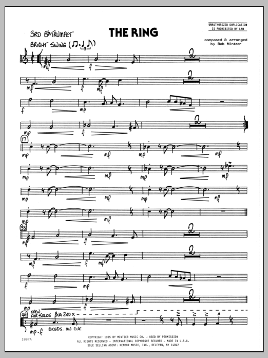 Bob Mintzer The Ring - 3rd Bb Trumpet sheet music preview music notes and score for Jazz Ensemble including 2 page(s)