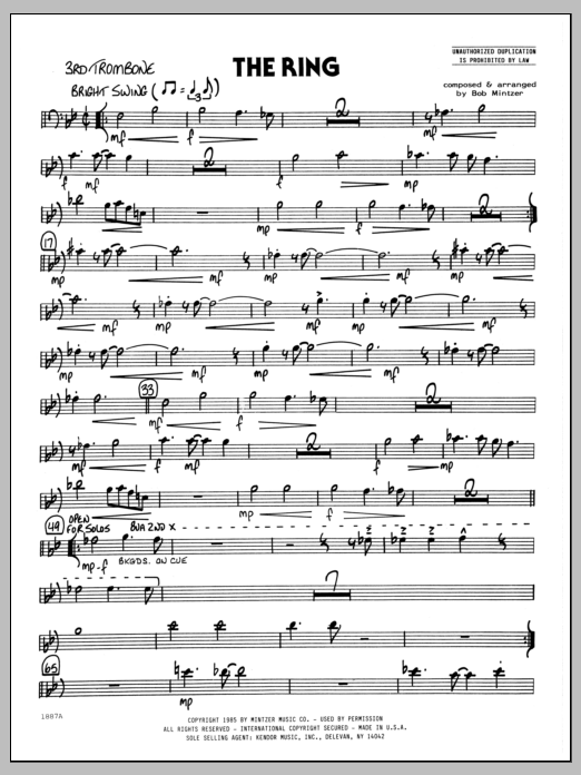 Bob Mintzer The Ring - 3rd Trombone sheet music preview music notes and score for Jazz Ensemble including 2 page(s)