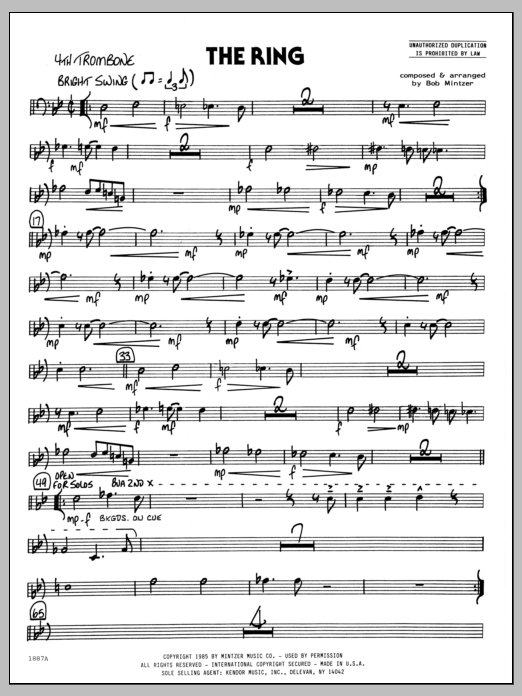 Bob Mintzer The Ring - 4th Trombone sheet music preview music notes and score for Jazz Ensemble including 2 page(s)
