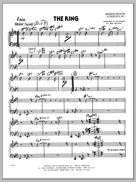 Bob Mintzer The Ring - Piano sheet music preview music notes and score for Jazz Ensemble including 3 page(s)
