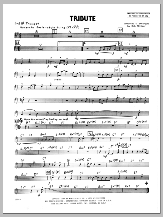Bob Mintzer Tribute - 3rd Bb Trumpet sheet music preview music notes and score for Jazz Ensemble including 2 page(s)