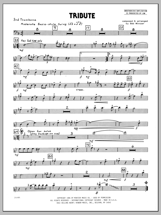 Bob Mintzer Tribute - 3rd Trombone sheet music preview music notes and score for Jazz Ensemble including 2 page(s)
