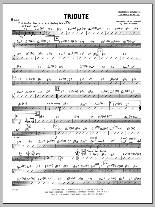 Bob Mintzer Tribute - Bass sheet music preview music notes and score for Jazz Ensemble including 2 page(s)