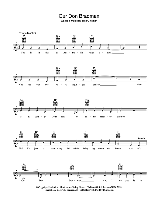 Bob Molyneux Our Don Bradman sheet music preview music notes and score for Melody Line, Lyrics & Chords including 2 page(s)