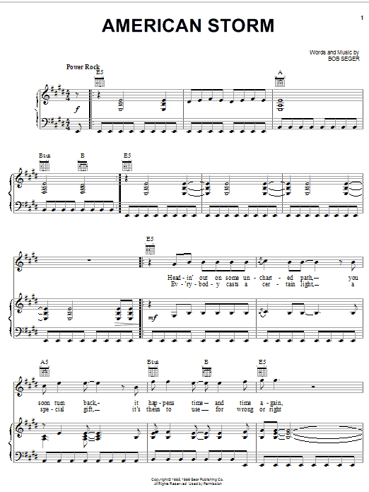 Bob Seger American Storm sheet music notes and chords