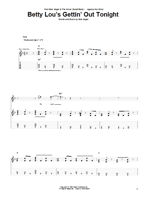 Download Bob Seger 'Betty Lou's Gettin' Out Tonight' Digital Sheet Music Notes & Chords and start playing in minutes