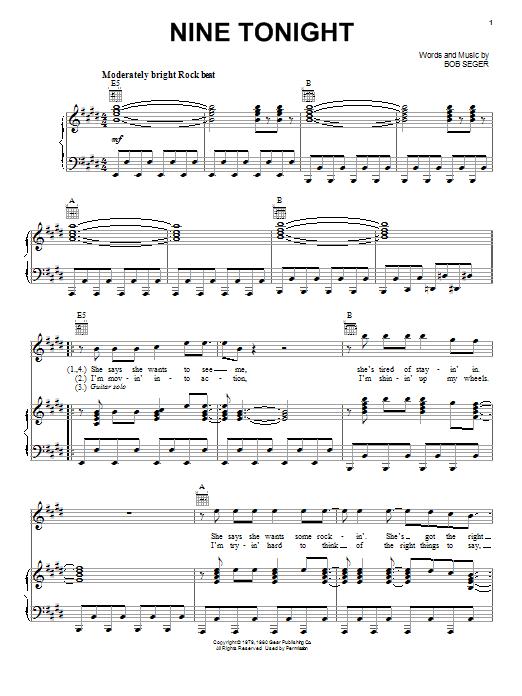 Bob Seger Nine Tonight sheet music notes and chords