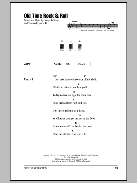 Download Bob Seger 'Old Time Rock & Roll' Digital Sheet Music Notes & Chords and start playing in minutes