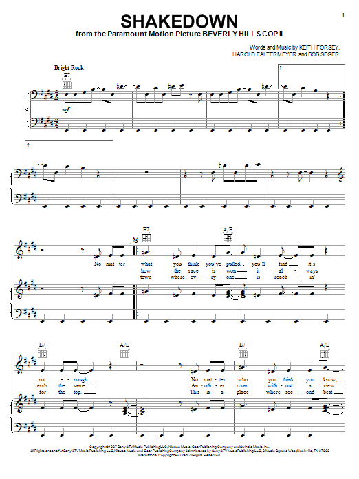 Bob Seger Shakedown sheet music notes and chords
