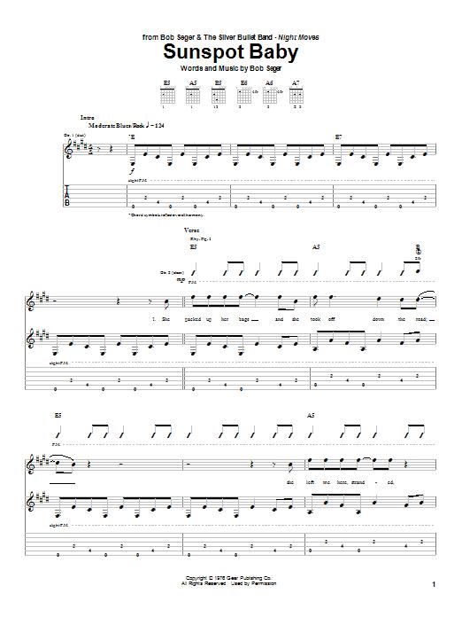 Bob Seger Sunspot Baby sheet music notes and chords