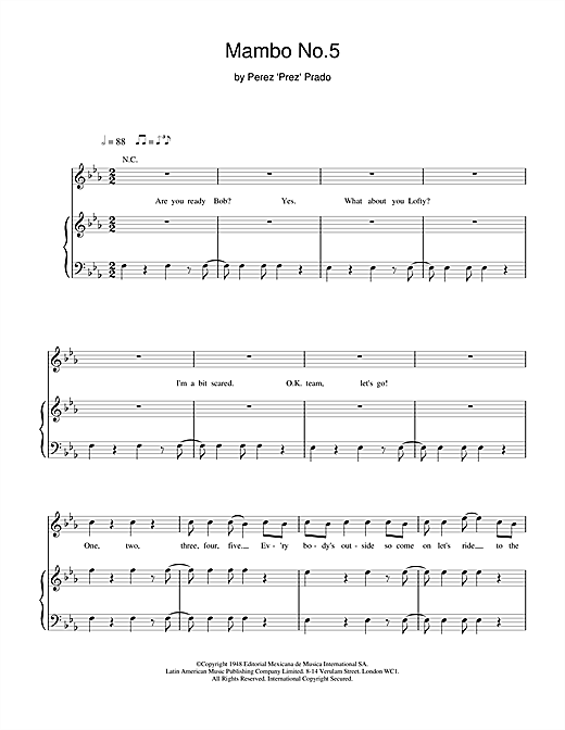 Bob The Builder Mambo No.5 sheet music notes and chords