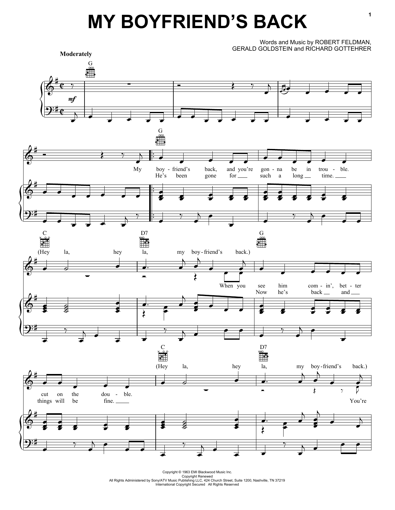 Bobby Comstock My Boyfriend's Back sheet music notes and chords