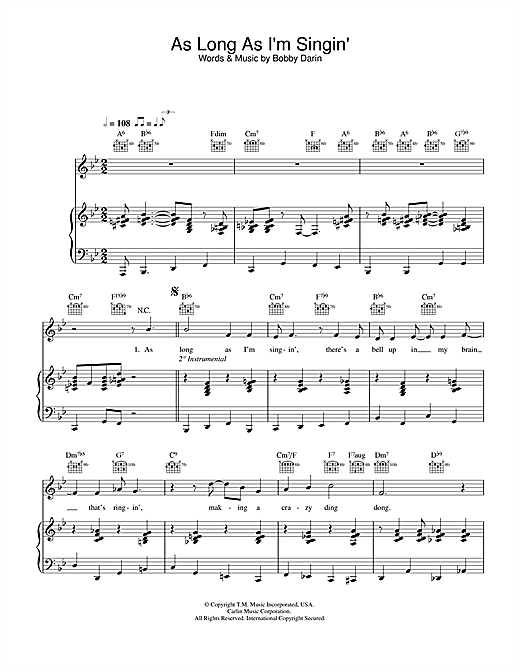 Download Bobby Darin 'As Long As I'm Singing' Digital Sheet Music Notes & Chords and start playing in minutes