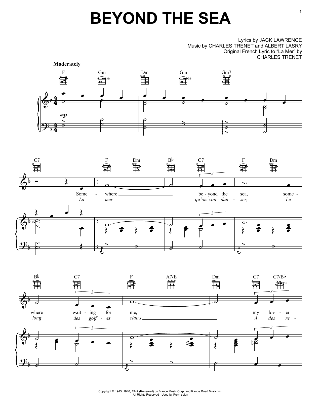 Download Bobby Darin 'Beyond The Sea' Digital Sheet Music Notes & Chords and start playing in minutes