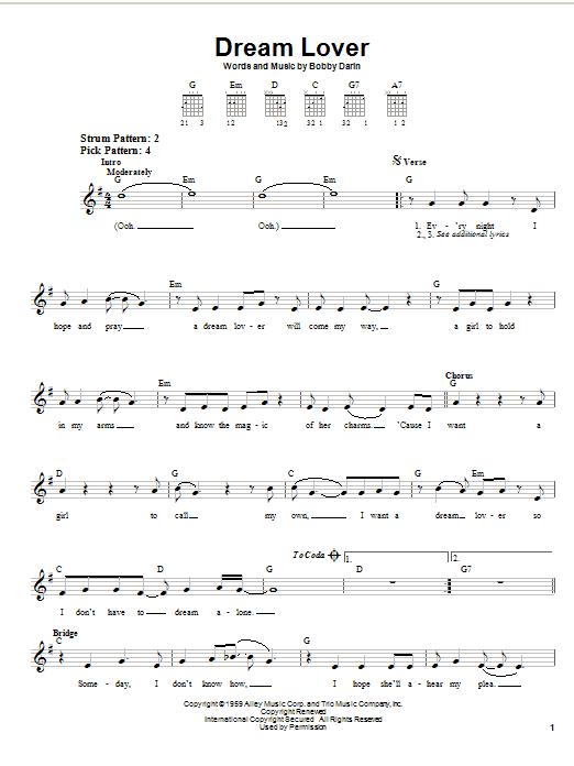 Bobby Darin Dream Lover sheet music notes and chords