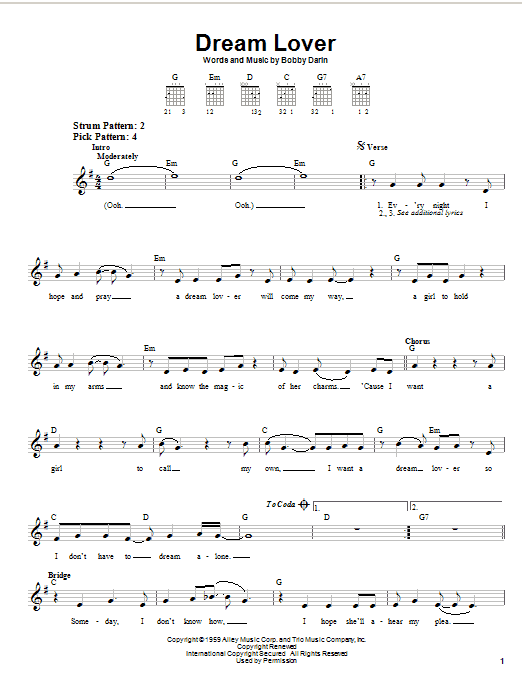 Bobby Darin Dream Lover sheet music preview music notes and score for Easy Guitar including 2 page(s)