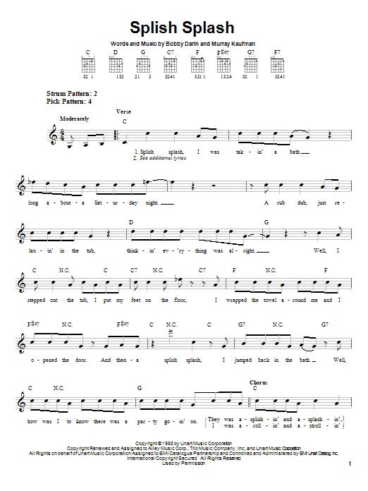 Bobby Darin Splish Splash sheet music notes and chords