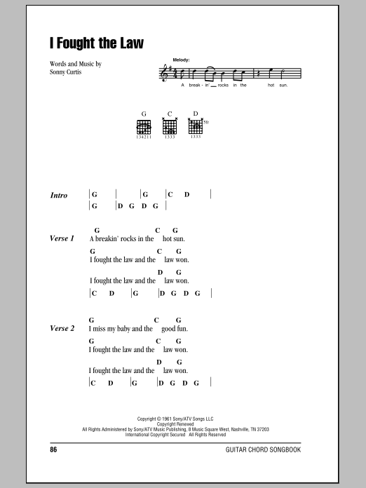 Download Bobby Fuller Four 'I Fought The Law' Digital Sheet Music Notes & Chords and start playing in minutes