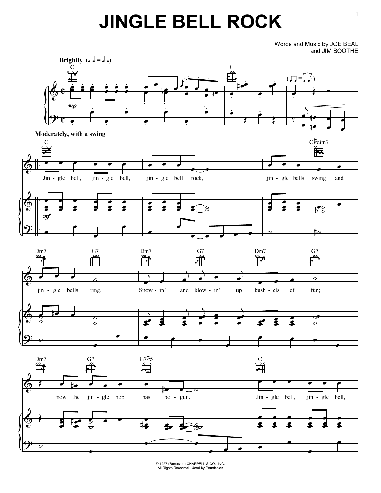 Bobby Helms Jingle-Bell Rock sheet music preview music notes and score for Guitar Tab including 3 page(s)