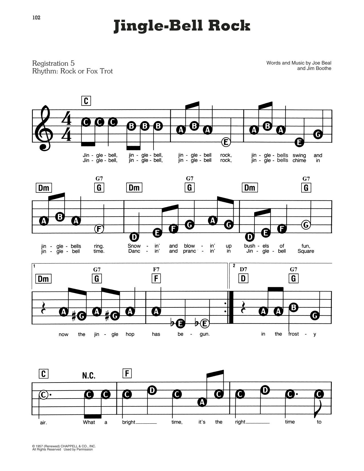 Bobby Helms Jingle Bell Rock sheet music preview music notes and score for E-Z Play Today including 2 page(s)