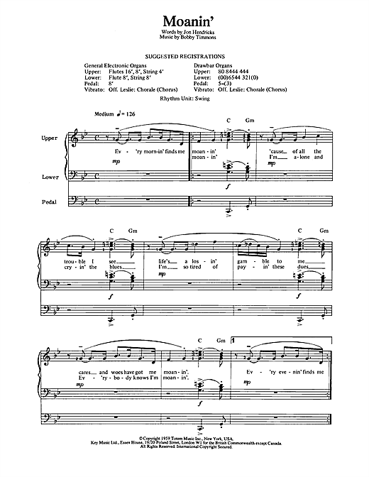 Download Bobby Timmons 'Moanin'' Digital Sheet Music Notes & Chords and start playing in minutes