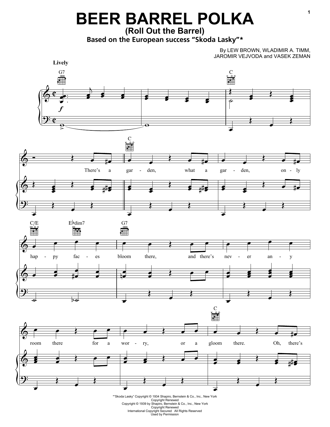 Download Bobby Vinton 'Beer Barrel Polka (Roll Out The Barrel)' Digital Sheet Music Notes & Chords and start playing in minutes