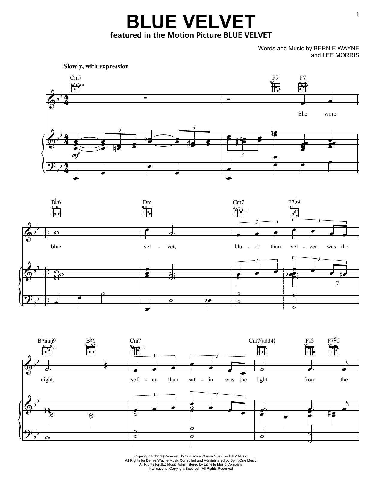 Bobby Vinton Blue Velvet sheet music notes and chords