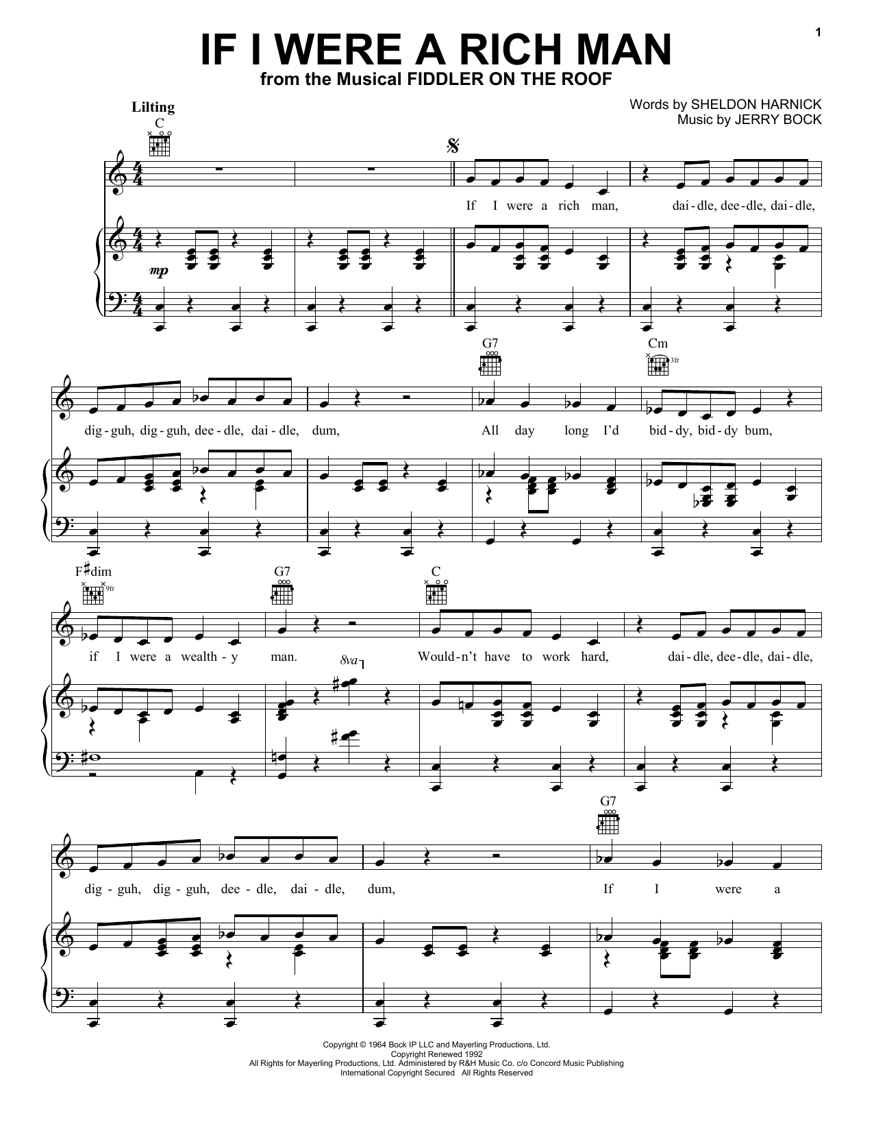 Bock & Harnick If I Were A Rich Man sheet music preview music notes and score for Easy Piano including 5 page(s)