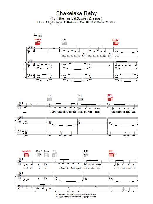 A.R. Rahman Shakalaka Baby (from Bombay Dreams) sheet music preview music notes and score for Piano, Vocal & Guitar including 8 page(s)
