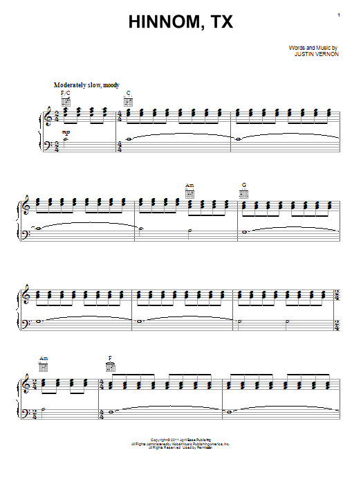 Bon Iver Hinnom, TX sheet music preview music notes and score for Piano, Vocal & Guitar (Right-Hand Melody) including 5 page(s)