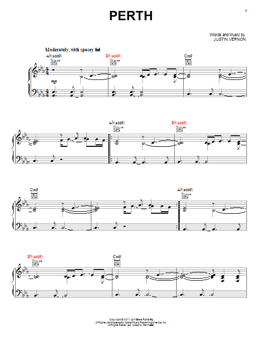 Bon Iver Perth sheet music preview music notes and score for Piano, Vocal & Guitar (Right-Hand Melody) including 8 page(s)