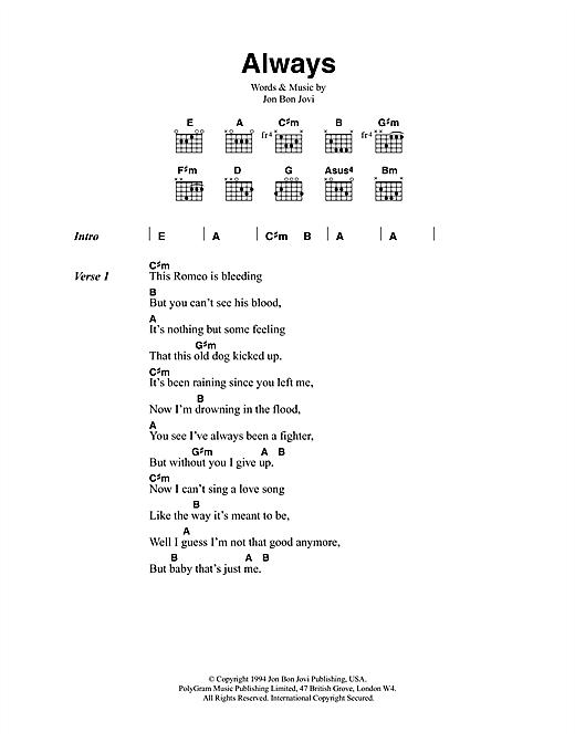 Bon Jovi Always sheet music notes and chords