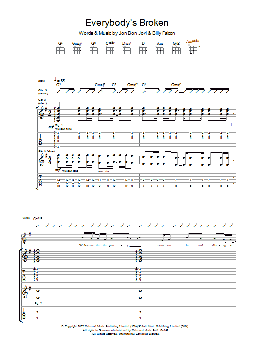 Bon Jovi Everybody's Broken sheet music preview music notes and score for Guitar Tab including 9 page(s)
