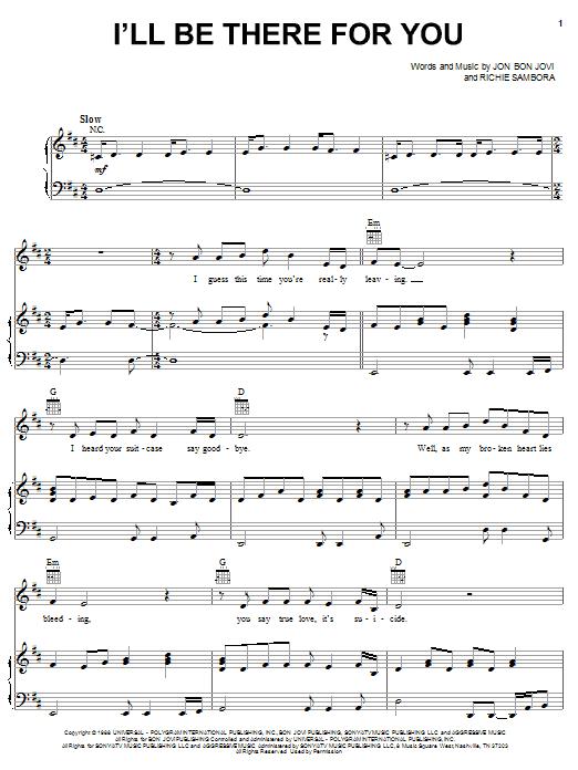 Bon Jovi I'll Be There For You sheet music notes and chords