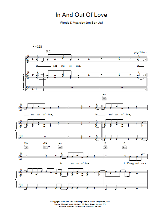 Bon Jovi In And Out Of Love sheet music preview music notes and score for Guitar Tab including 5 page(s)