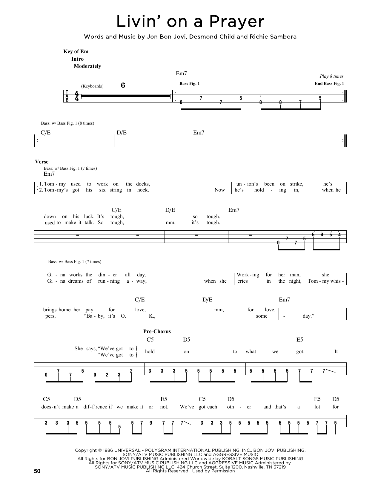 Download Bon Jovi 'Livin' On A Prayer' Digital Sheet Music Notes & Chords and start playing in minutes