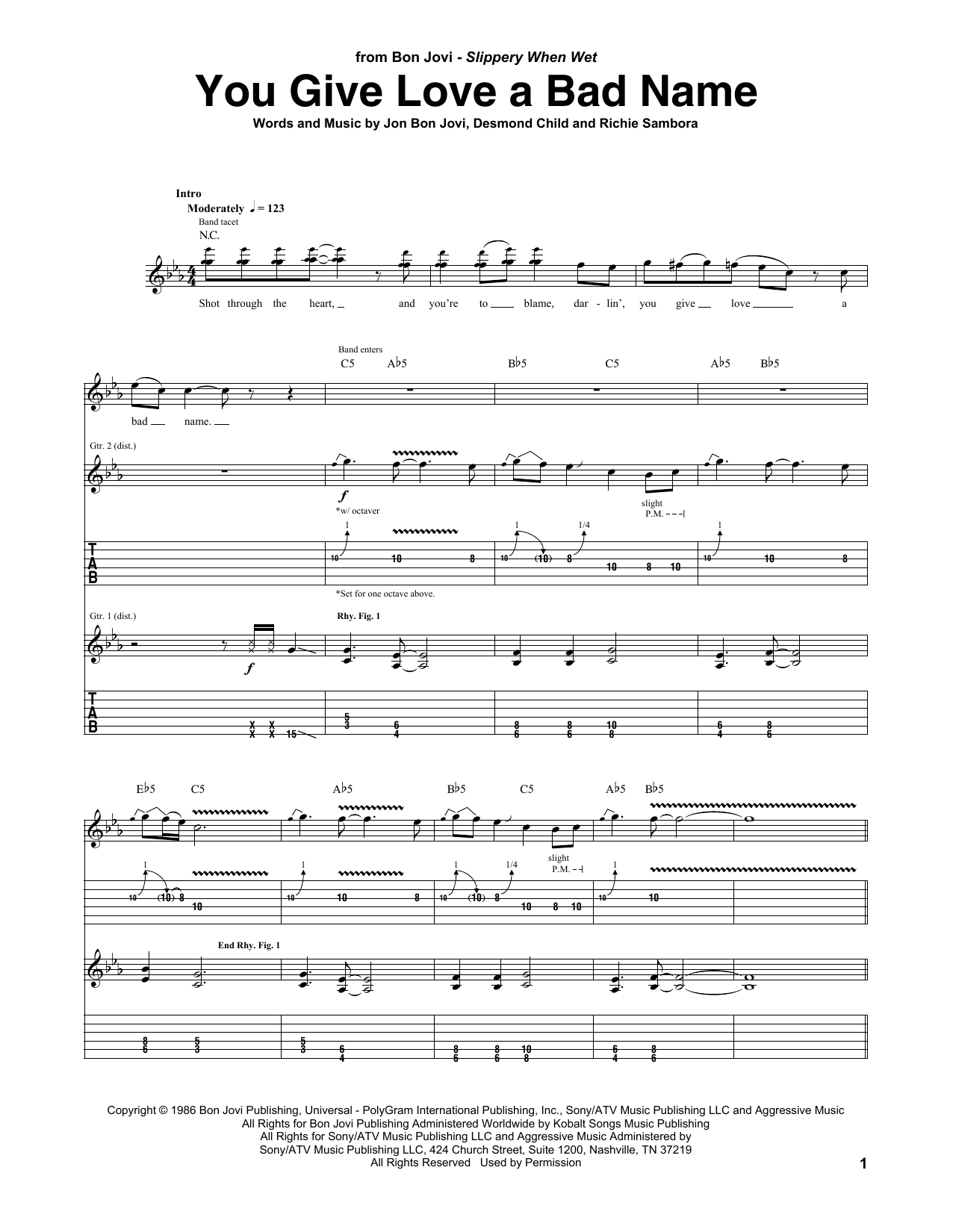 Download Bon Jovi 'You Give Love A Bad Name' Digital Sheet Music Notes & Chords and start playing in minutes
