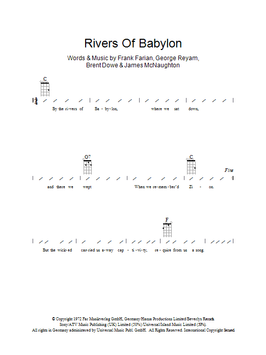 Boney M Rivers Of Babylon sheet music preview music notes and score for Ukulele with strumming patterns including 2 page(s)