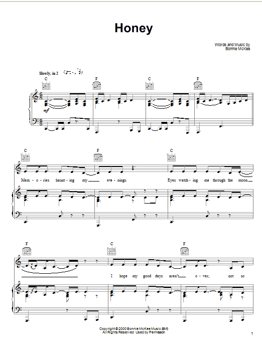 Bonnie McKee Honey sheet music preview music notes and score for Piano, Vocal & Guitar (Right-Hand Melody) including 8 page(s)